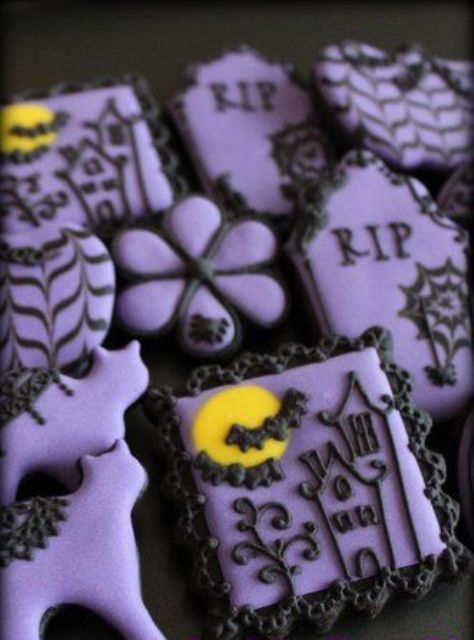 LOVE these Halloween cookies - the spiders are adorable, love the idea of putting related words on some of the cookies, and the colors are pretty. Description from pinterest.com. I searched for this on bing.com/images
