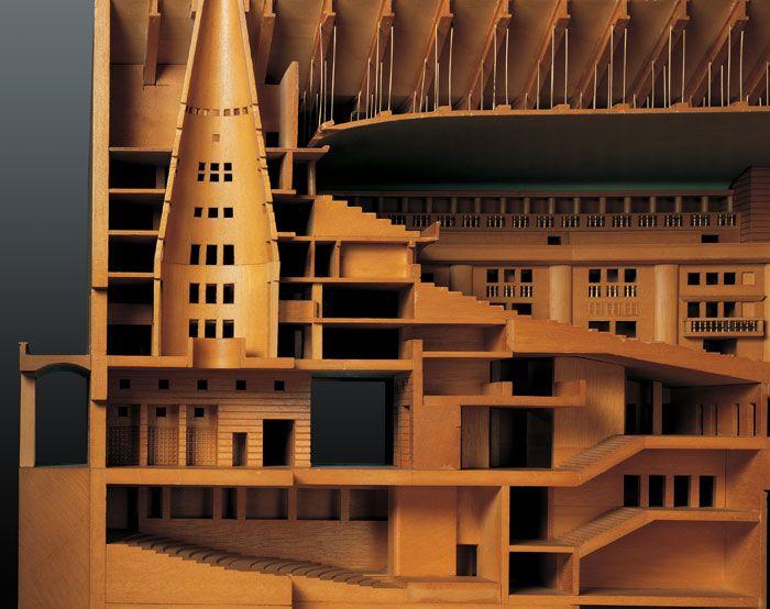 Wood model : Teatro Carlo Felice, Genoa Italy (1983-84) | Aldo Rossi