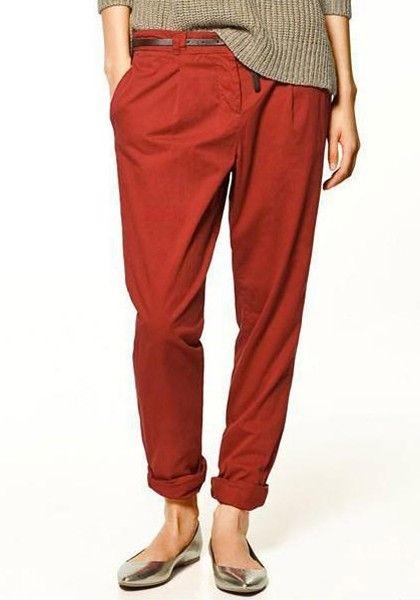 Wine Red Belt Waist Nine's Cotton Blend Pants