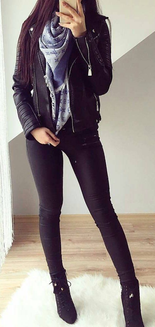 #outfits #fall #fashion Leather Jacket // Skinny Jeans // Black Booties // Printed Scarf