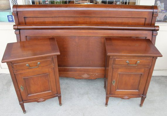 Elegant cherry wood bedroom set made in Italy, originally purchased from Macys in Seattle (back when it was The Bon Marche). Cherry wood has