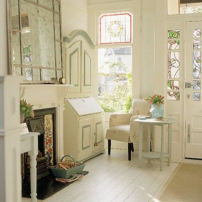 Mirror, stained glass, desk--it's all great.