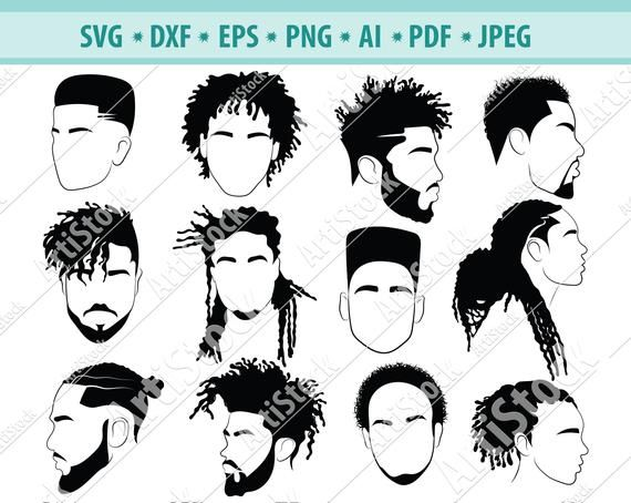 Afro Hairstyles Svg Black Man Bundle Svg Hair Dreadlocks Etsy In 2020 Afro Hair Drawing Afro Men Afro Hairstyles
