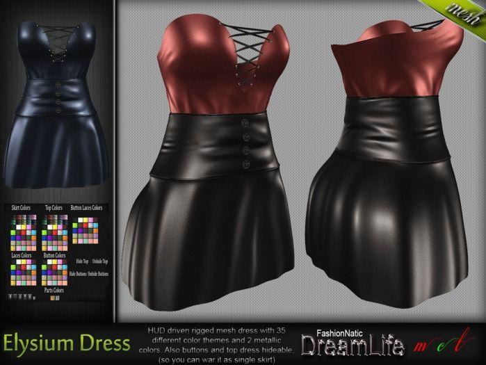 Elysium Corset Dress* Rigged Mesh (HUD Driven) *DreamLife - FashionNatic*