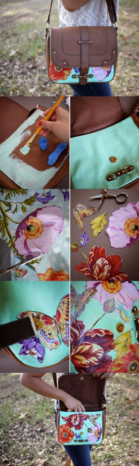 DIY Découpage Floral Bag Tutorial                                                                                                                                                      More