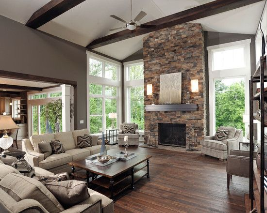 Living room exposed beams design dark beams white trim - Living room with fireplace ...