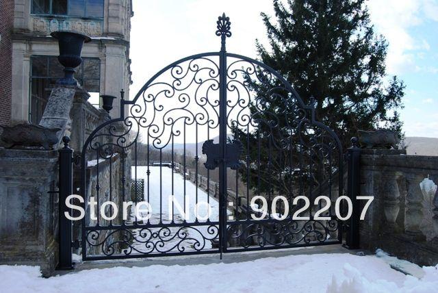 Двери кованые железные ворота безопасности, кованого железа ворота привод, дороги кованые железные ворота железные двери