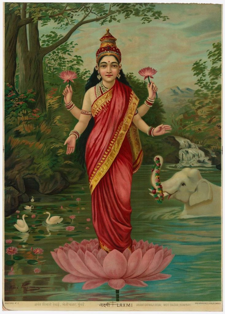 Lakshmi, Hindu goddess of wealth, fortune, and prosperity (India, 1910)~Image courtesy the Museum of Fine Arts, Boston.