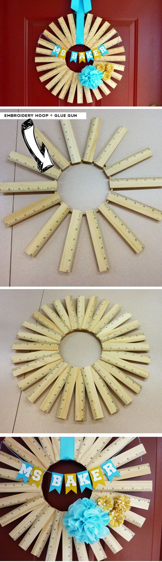 Personalized Ruler Wreath | Click Pic for 23 DIY Back to School Gifts for Teacher | Handmade Gifts for School Students