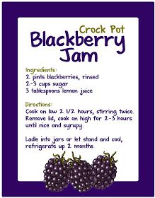 Crockpot Blackberry Jam Simple and impressive. Less sugar for more fruit flavor! :) Yum!!! Best berry I've ever tried... Huckleberry a close 2nd!