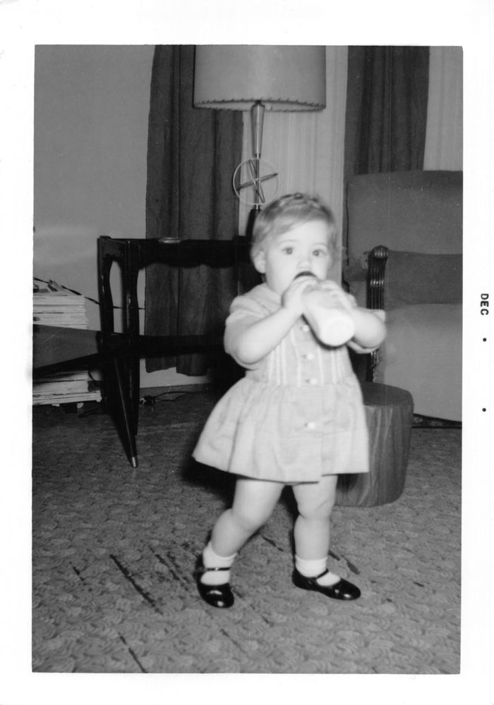1950 S Vintage Black White Snapshot Photo Of Baby With Bottle In