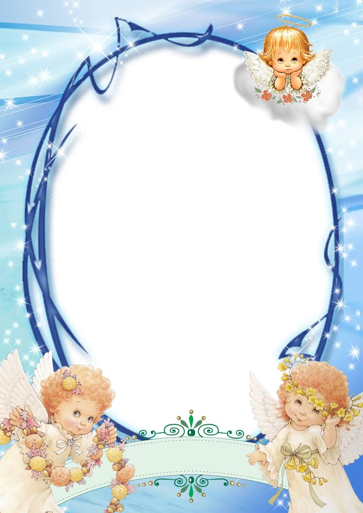 Transparent Blue PNG Frame with Angels