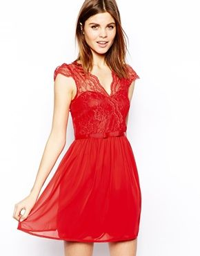 Asos v neck lace skater dress