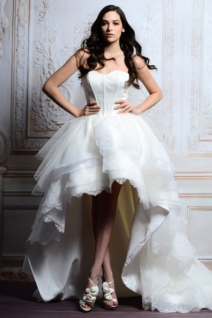 MZ0208 The Most Beautiful 2014 A Line White Organza Lace High Low Wedding  Dresses Free