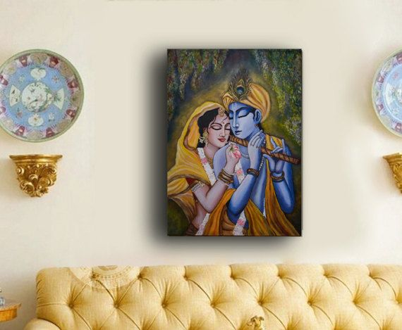 Original, Radha Krishna painting, Large Ready to hang stretched Hand painted Acrylic Paintings on Canvas, wall art, canvas acrylic painting.