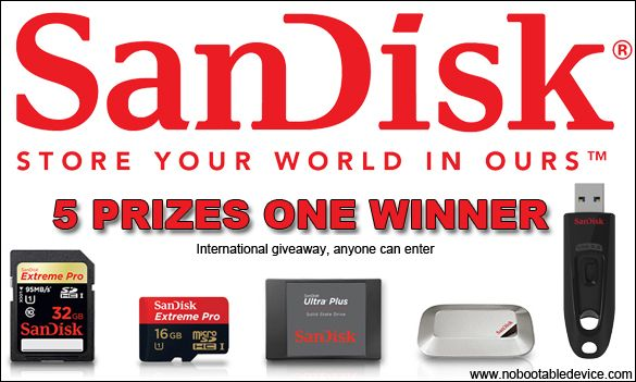 Win 5 Awesome SanDisk products. @ www.NoBootableDevice.com