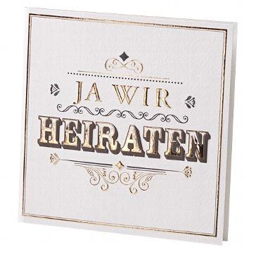 """Hochzeitseinladung """"Lou"""" in Weiß mit gold-schwarzer Prägung - weddix"""