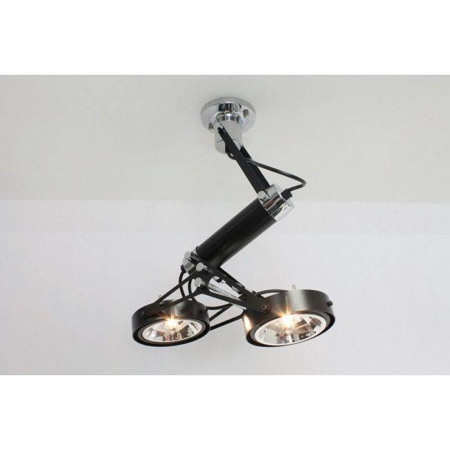 Strakke industriële plafondlamp LUXOR | 2-lichts zwart