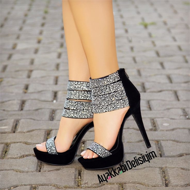 Lorenza Siyah Pul Taşlı Platform Topuklu Ayakkabı #high #heels #black #shoes #shoelover