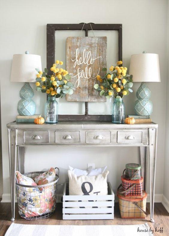 Farmhouse Home Decor | Rustic Decor | Entryway Table Decor | Fall Decor | Blue and Yellow Home Decor
