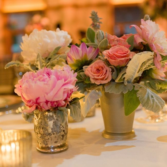 A Variety Of Guest Tables Had Floral And Candle Arrangements Of Varying  Heights. Ranunculuses, Peonies, Roses And Dahlias Were Housed In Silver  Mercury ... Part 76