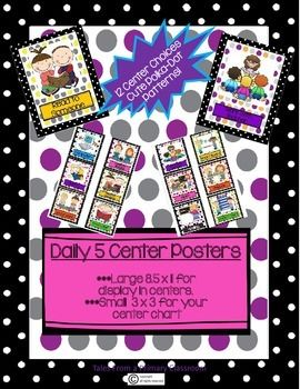 Daily 5 Center Posters and Chart Icons- 12 Centers, Bright Polka-Dot DesignYour students will have no trouble finding their center or reading your center charts with these bright polka-dot center posters and matching chart icons. Based on the Daily 5, with a few bonus centers you may choose to use in your classroom.