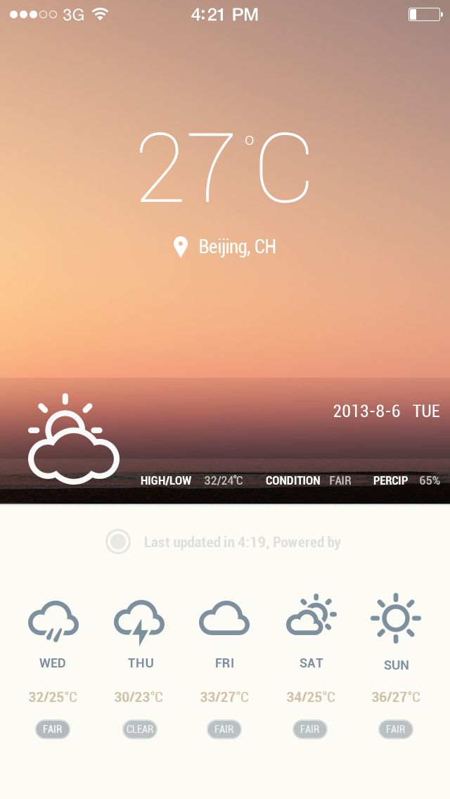 A weather app screen - by Dachang | #ui