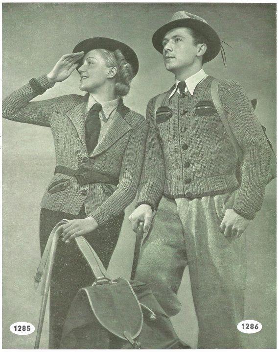 1930s Knitting Patterns for Women and Mens Sports or Hiking Coat / Vest / Jacket / Cardigan - Digital PDF