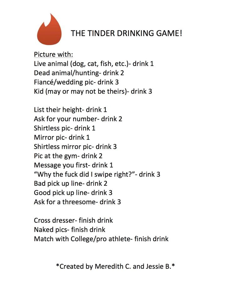 Haha of you're looking to get drunk fast - The Tinder Drinking Game :p