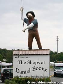 Daniel Boone statue.  As someone wrote:  Nothing says shopping like a giant statue of Daniel Boone.