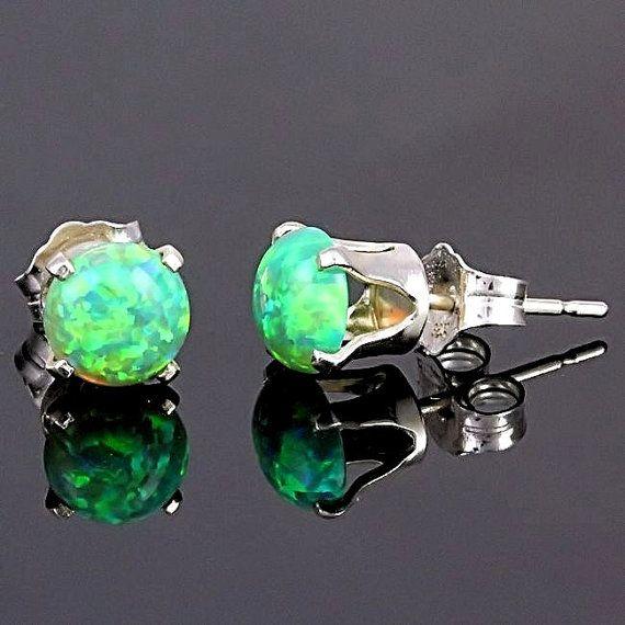 1.3ct 6mm Kiwi Green Opal Crown Set Stud Earrings 925 Sterling Silver on Etsy, $23.00