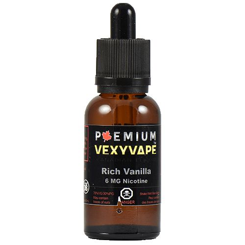 VexyVape eLiquid Rich Vanilla - Rich Vanilla has a rich enhanced, creamy vanilla flavour similar to ice cream that is sure to please your vaping palate. This eliquid has a great throat hit, produces excellent vapour, and an enjoyable smooth vaping experience.70% VG