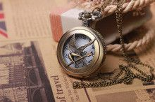 Fashion Jewelry the hunger game Retro Necklace watch russia hunger games pocket watch bronze vintage cool bird relogio de bolso