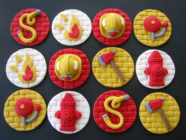Firefighter Cupcake Toppers In 2019 Fondant Toppers Firefighter