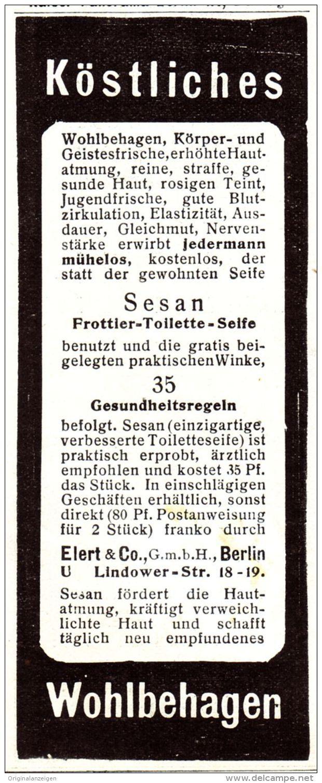 Original-Werbung/ Anzeige 1907 - SESAN FROTTIER - TOILETTE - SEIFE / ELERT -  BERLIN - Ca. 45 X 110 Mm - Werbung