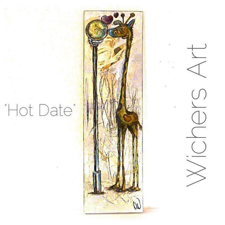 Hot Date - Finally love did not turn it's back ón the before so unhappy and lovesick giraffe;-) #zoo #marius #animal #Wichers_Art #art #painting #Denmark #giraffe