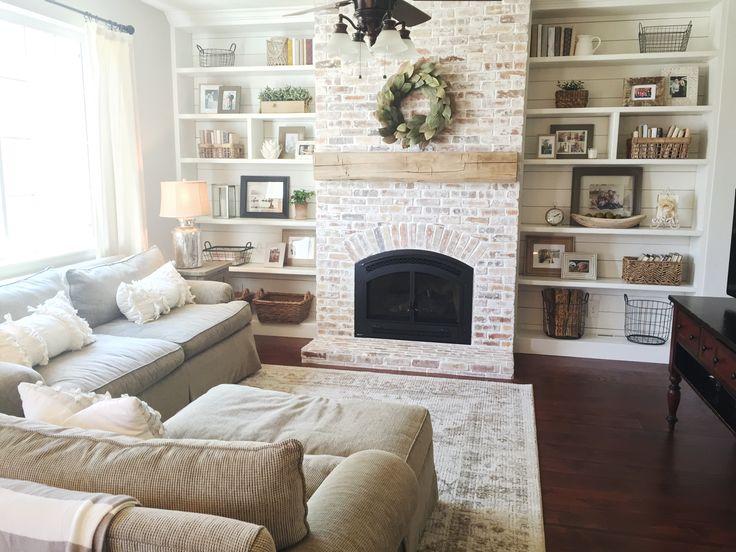 Built-ins, shiplap, whitewash brick fireplace, bookshelf styling, rustic mantle