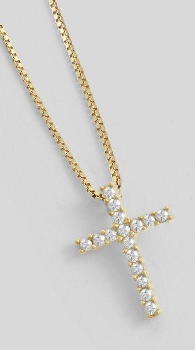 Gargantilha Crucifixo , em Ouro Amarelo, com 8 Ptos de Diamantes | Guest Club