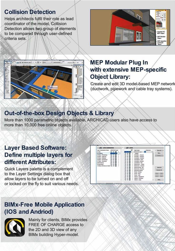 MEP Modular Plug in with extensive MEP-Specific Object Library. archicad can use the MEP Modeler to create & edit 3D model-based MEP networks and coordinate them within the archicad Virtual Building.