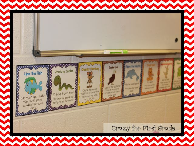 Crazy for First Grade: Reading Strategy Posters {Freebie}- Just printed these for my home-classroom. Perfect size for little space, I'm putting ours on a door.