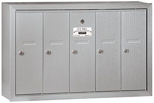 Salsbury Industries 3505ASP Surface Mounted Vertical Mailbox with Master Commercial Lock, Private Access and 5 Doors, Aluminum Salsbury Industries