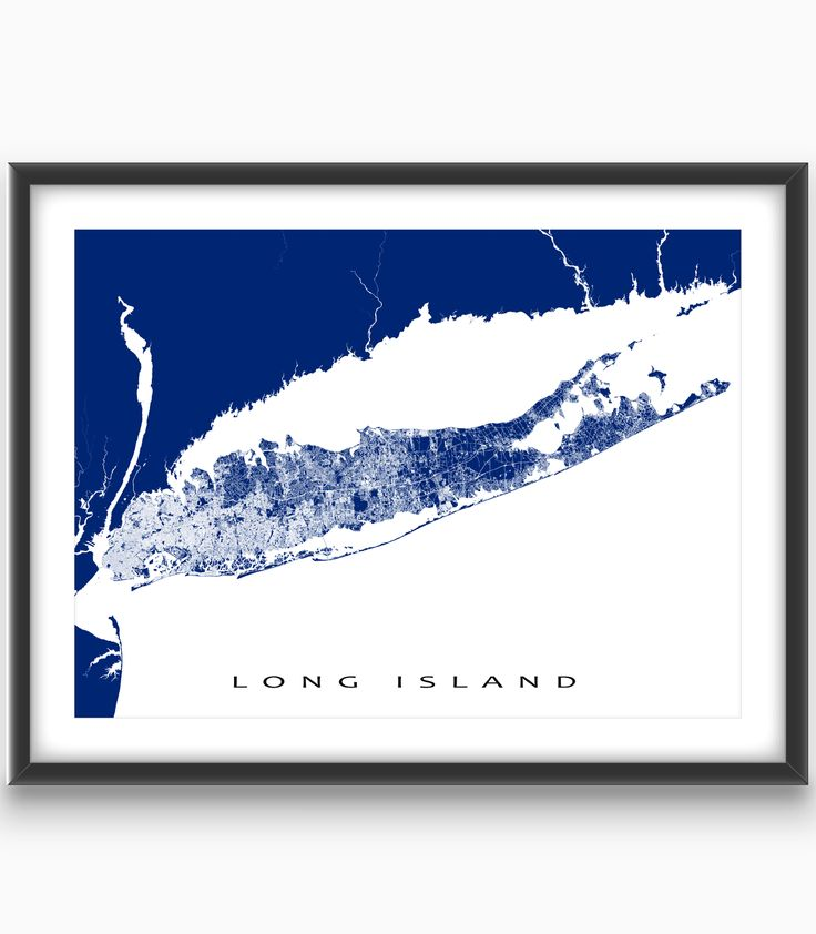 Long Island, New York, USA  Modern, graphic and eye-catching. #LongIsland #map print with a white street network design - including places like Brooklyn, Queens, East Hampton and Southampton. Perfect for your travel wall or to add to your existing home #decor. #NewYorkState #nyc