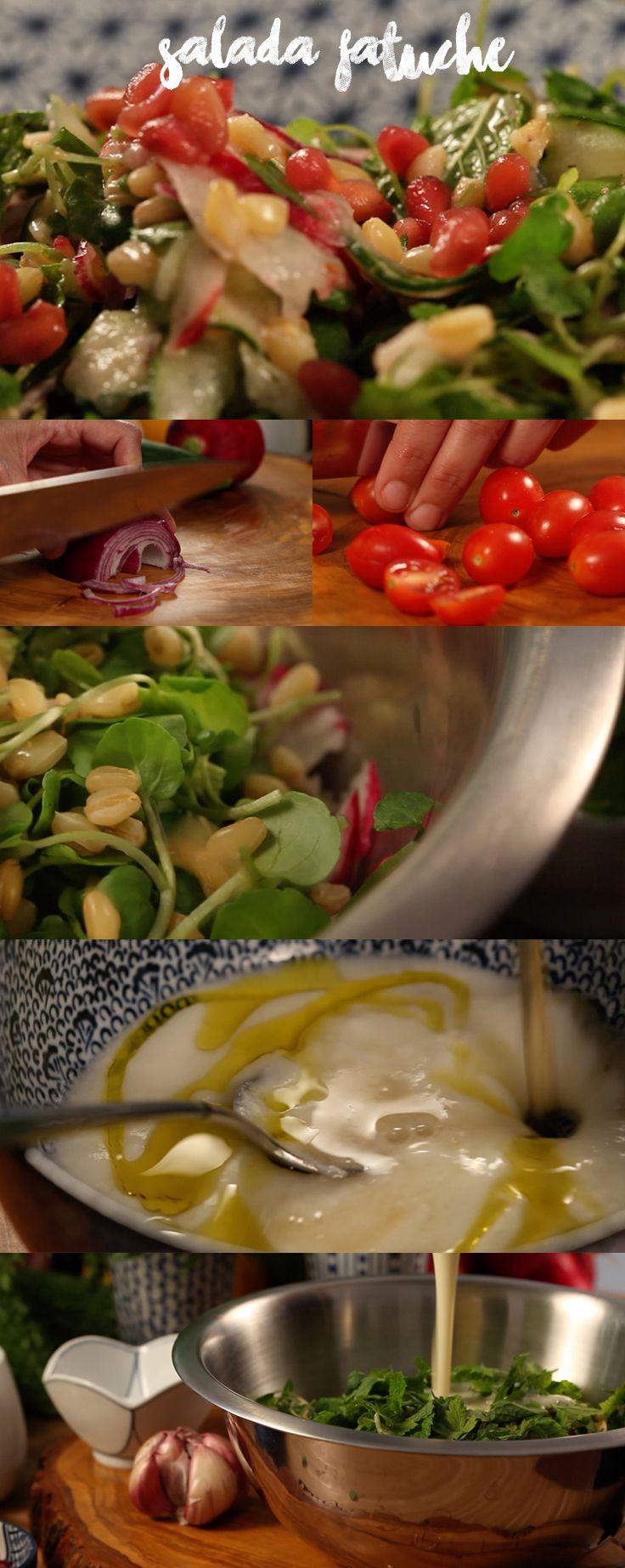 Folhas de salada, fatias de rabanete e quadradinhos crocantes de pão pita com molho doce compõe a saborosa Salada Fatuche. Veja mais receitas em www.myyellowpages.com.br