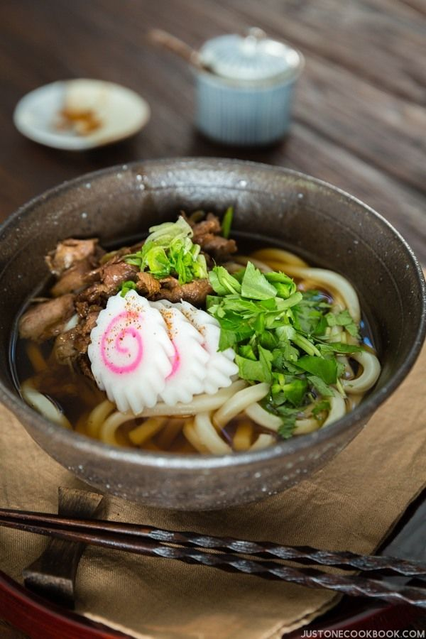 Beef Udon Soup: Tender sliced beef on top of slippery warm udon noodle in a savory broth.