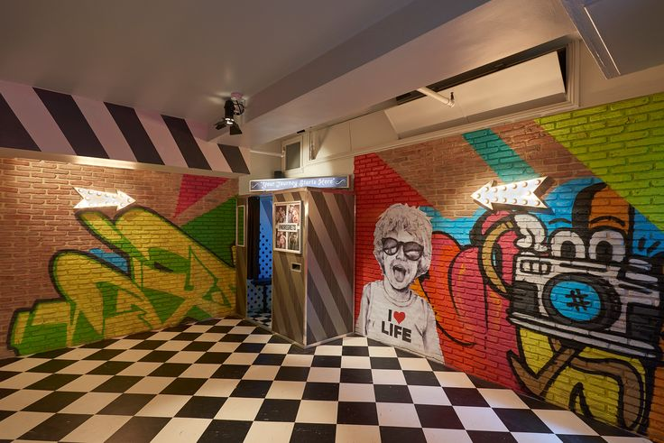 Contiki Basement - Office interior  #handpainted #typography #interiorgraphics #wallvinyl #graffiti #signage