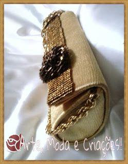 Linda bolsa de festa dourada da Arte, Moda e Criações !! ;^)