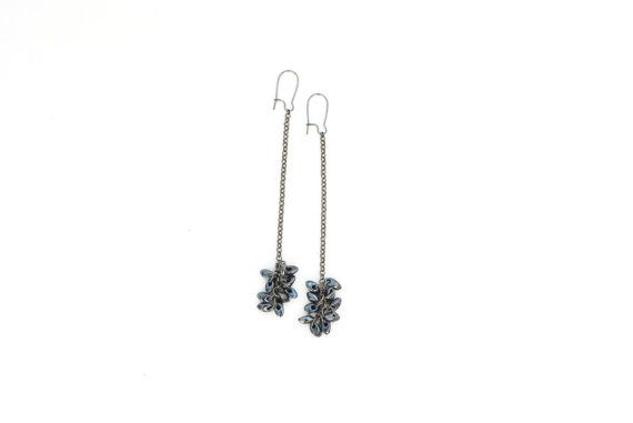 Long earrings black earrings glass beads gunmetal by elfinadesign