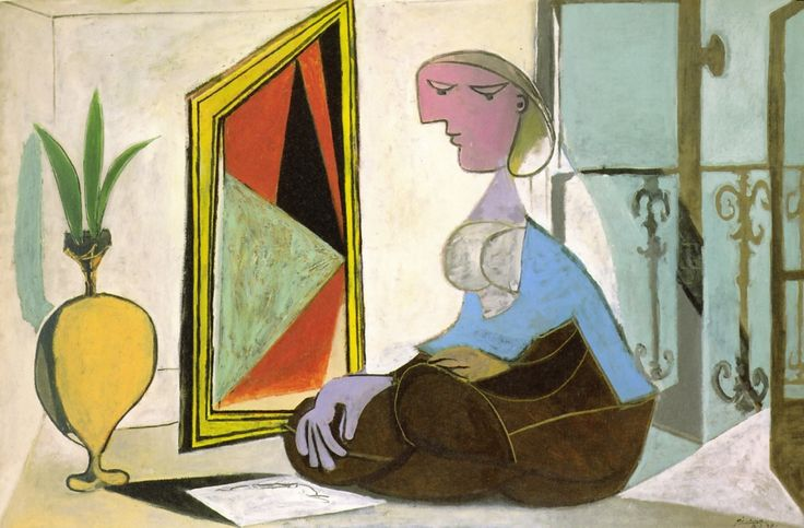 Pablo Picasso – Woman at the Mirror (Crouching Woman), 1937, Oil on canvas, 129.8x194.7 | Kunstsammlung Nordrhein-Westfalen, Düsseldorf