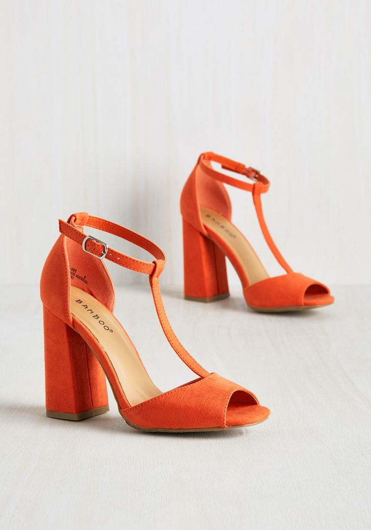 Got You in My Insights Heel in Tangerine. Its one thing to spy the perfect pair of heels, but its another when your fashion intuition leads you right to these orange block heels! #orange #modcloth