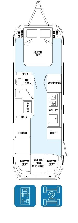 "Floor Plans - Land Yacht 28Exterior Length	28' Exterior Width	8' 5.5"" Interior Width	8' 1"" Exterior Height with A/C	9' 9"" Interior Height with A/C	6' 6.5"""